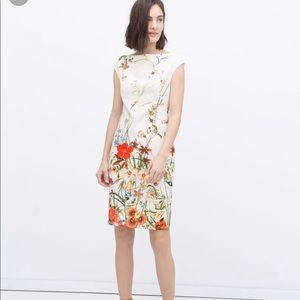 Zara colorful flower summer midi dress stretchy S